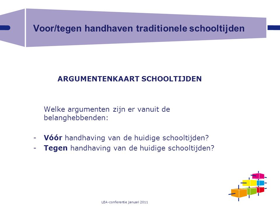 Voor/tegen handhaven traditionele schooltijden