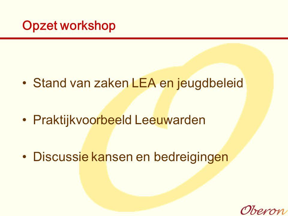 Opzet workshop Stand van zaken LEA en jeugdbeleid.