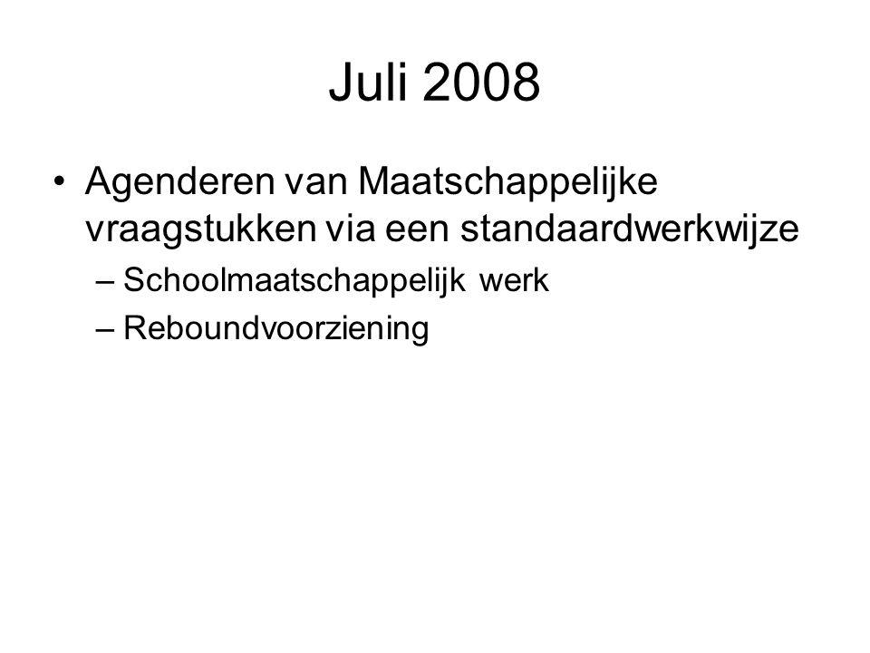 Juli 2008 Agenderen van Maatschappelijke vraagstukken via een standaardwerkwijze. Schoolmaatschappelijk werk.