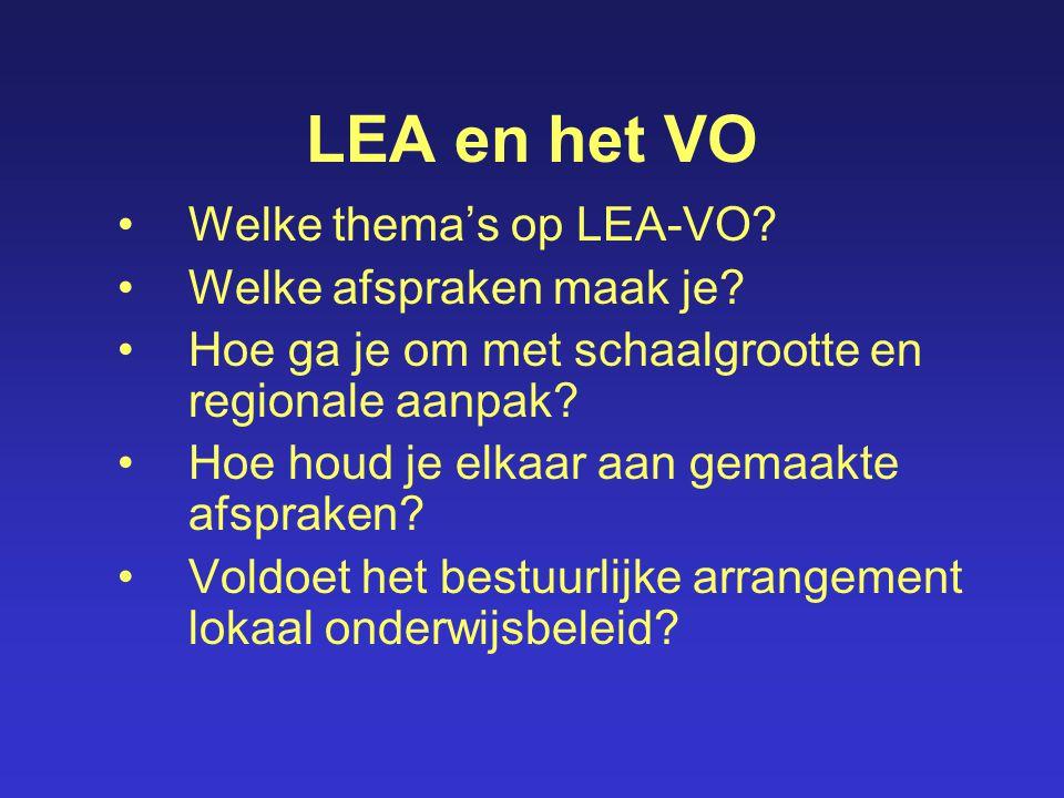 LEA en het VO Welke thema's op LEA-VO Welke afspraken maak je