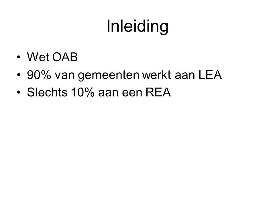 Inleiding Wet OAB 90% van gemeenten werkt aan LEA