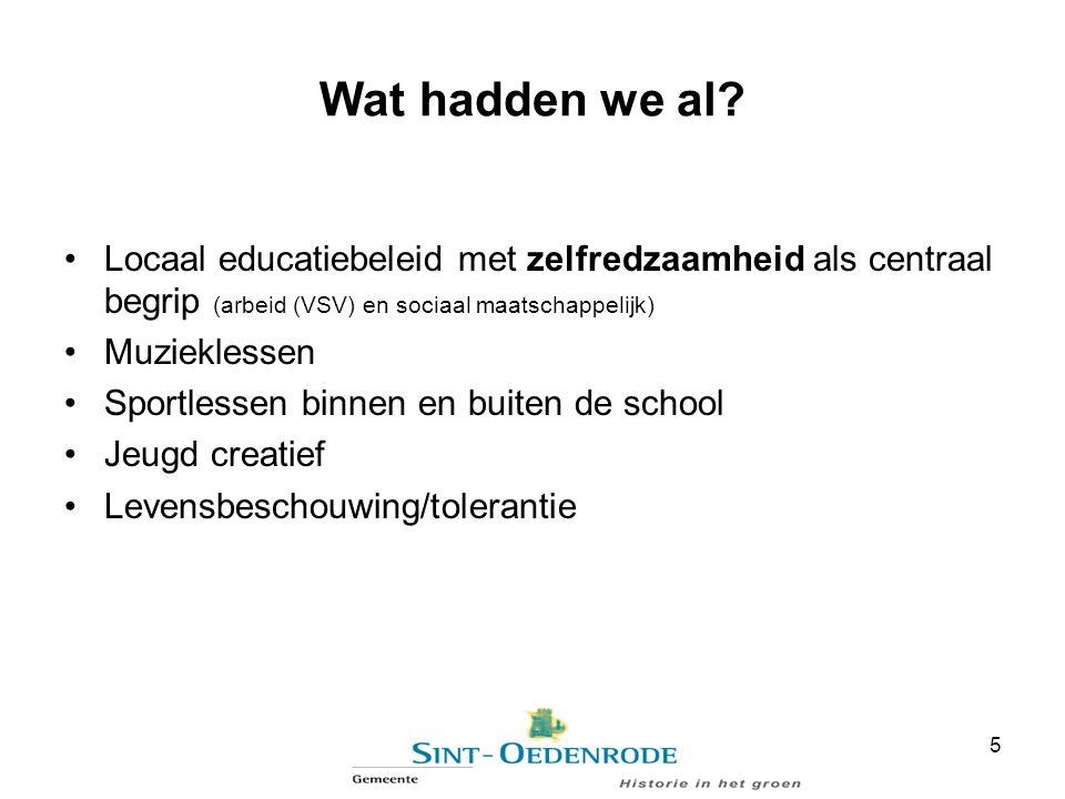 Wat hadden we al Locaal educatiebeleid met zelfredzaamheid als centraal begrip (arbeid (VSV) en sociaal maatschappelijk)