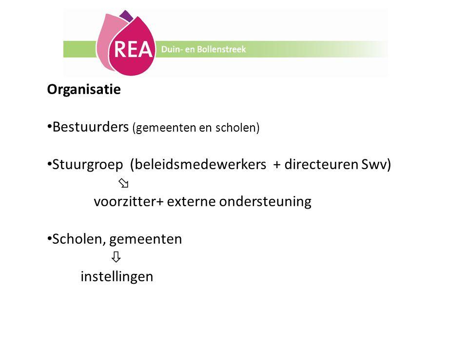 Organisatie Bestuurders (gemeenten en scholen) Stuurgroep (beleidsmedewerkers + directeuren Swv)