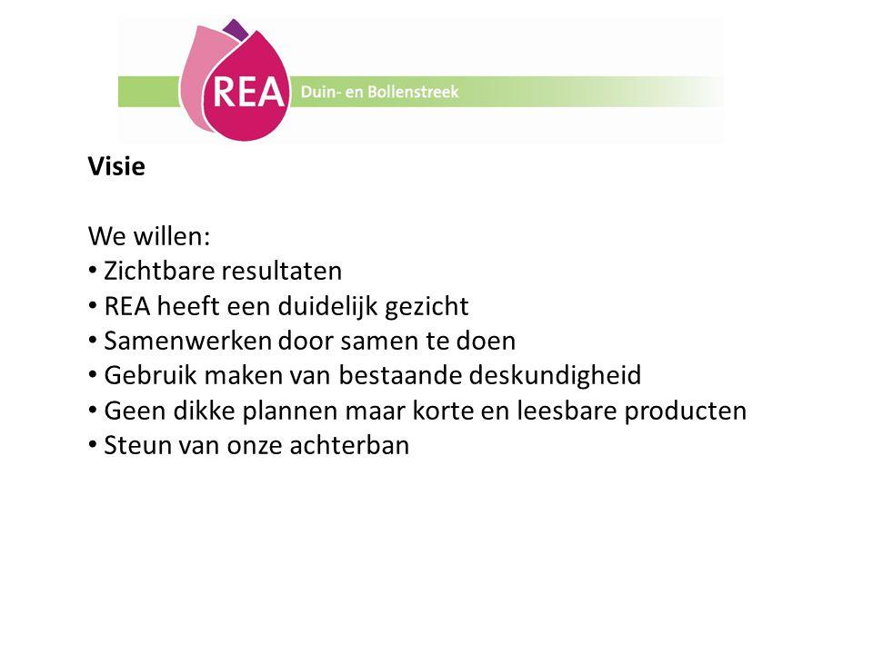 Visie We willen: Zichtbare resultaten. REA heeft een duidelijk gezicht. Samenwerken door samen te doen.