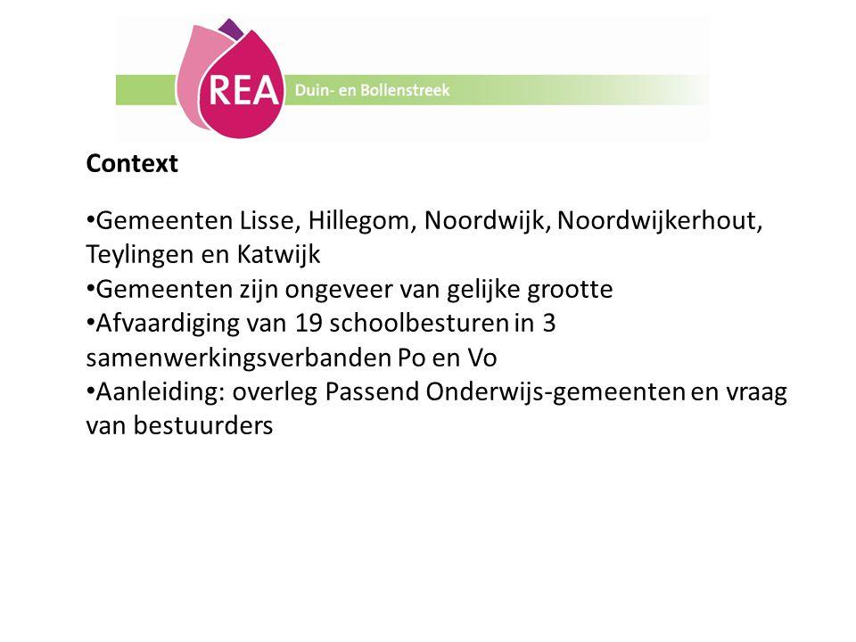 Context Gemeenten Lisse, Hillegom, Noordwijk, Noordwijkerhout, Teylingen en Katwijk. Gemeenten zijn ongeveer van gelijke grootte.