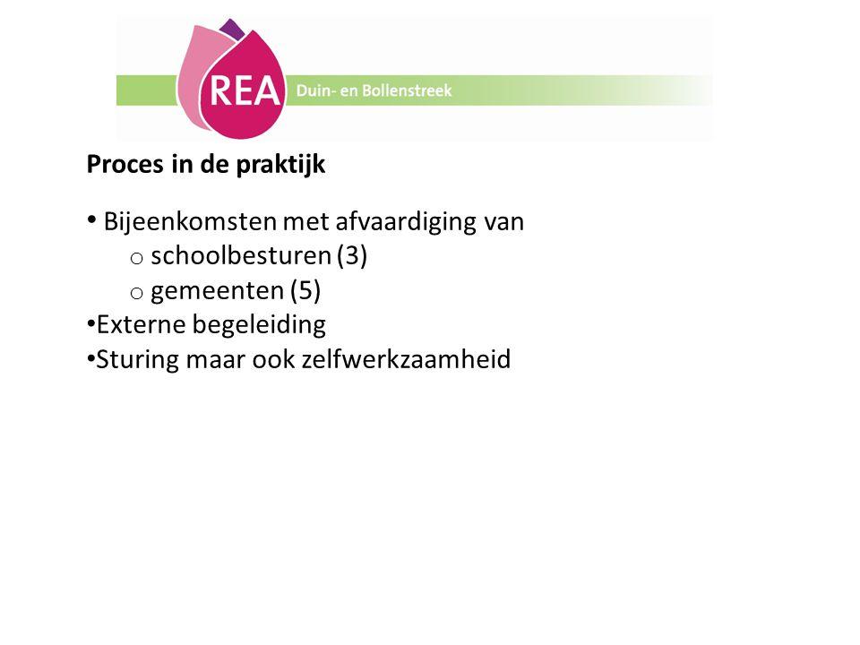 Proces in de praktijk Bijeenkomsten met afvaardiging van. schoolbesturen (3) gemeenten (5) Externe begeleiding.