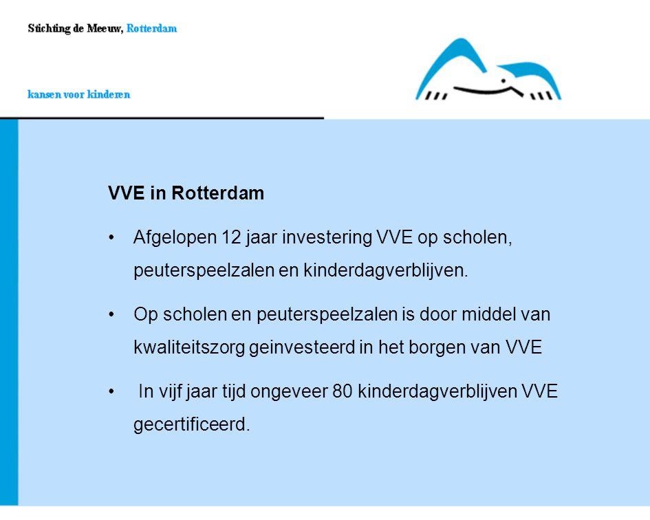 VVE in Rotterdam Afgelopen 12 jaar investering VVE op scholen, peuterspeelzalen en kinderdagverblijven.