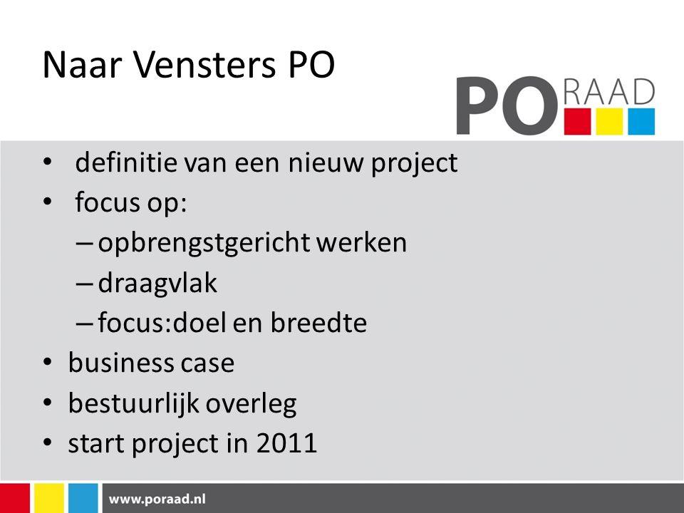 Naar Vensters PO definitie van een nieuw project focus op: