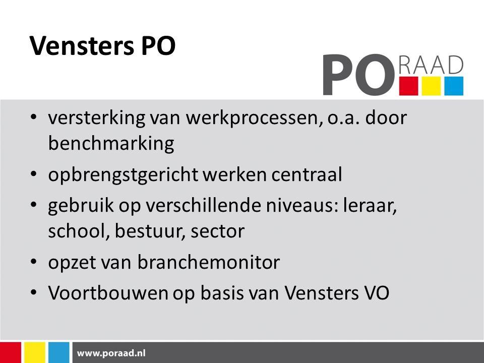 Vensters PO versterking van werkprocessen, o.a. door benchmarking