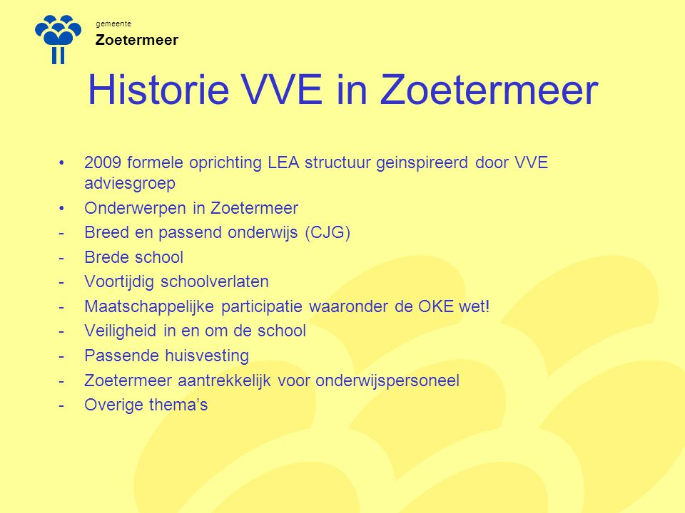 Historie VVE in Zoetermeer