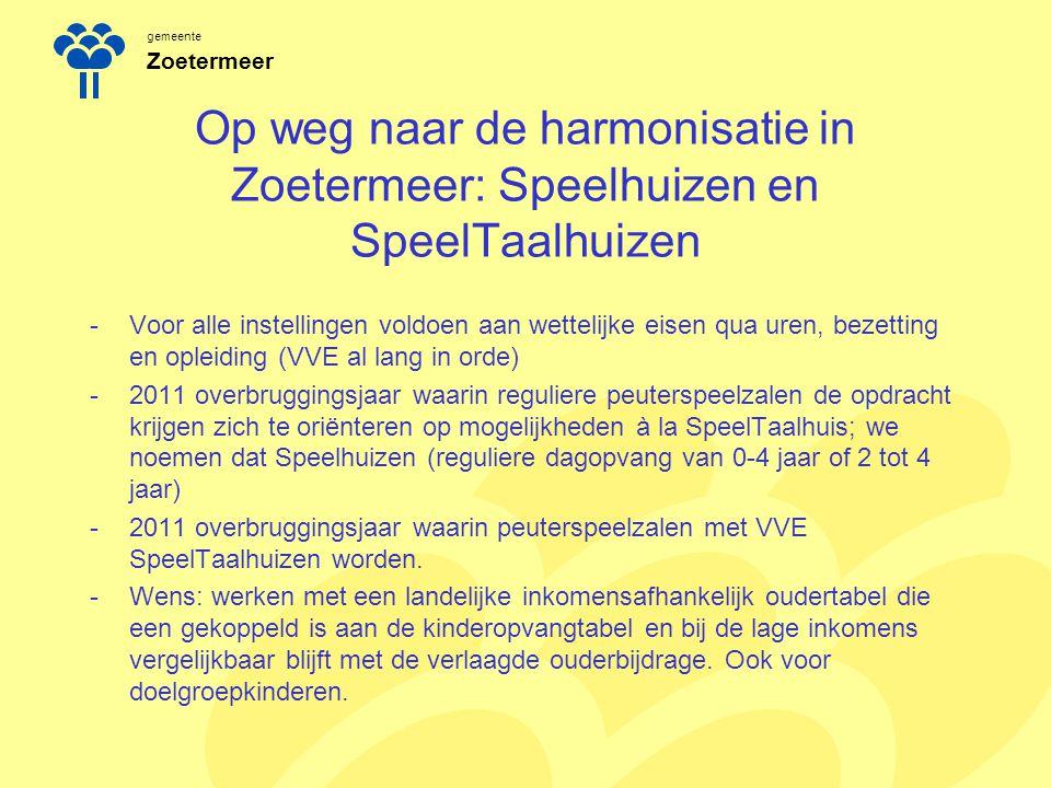 Op weg naar de harmonisatie in Zoetermeer: Speelhuizen en SpeelTaalhuizen