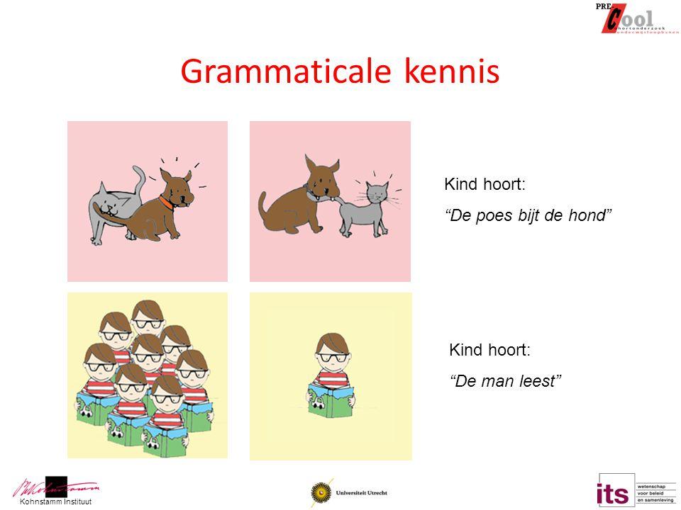Grammaticale kennis Kind hoort: De poes bijt de hond Kind hoort: