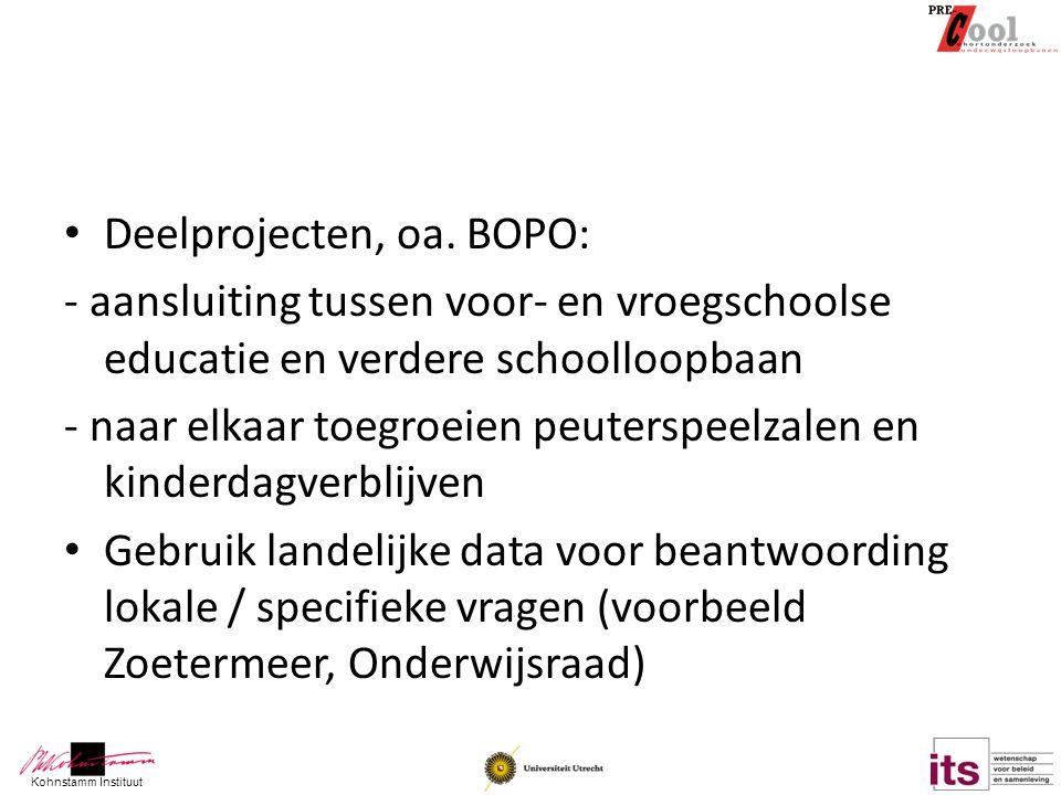 Deelprojecten, oa. BOPO: