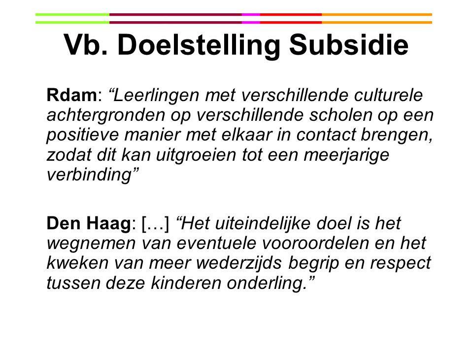 Vb. Doelstelling Subsidie