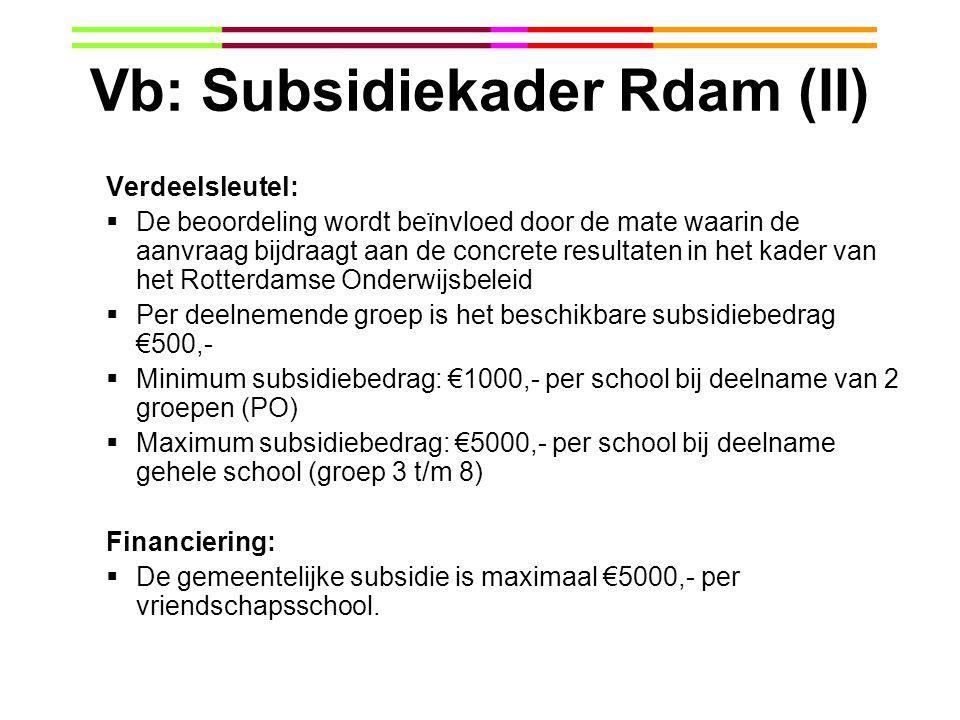Vb: Subsidiekader Rdam (II)