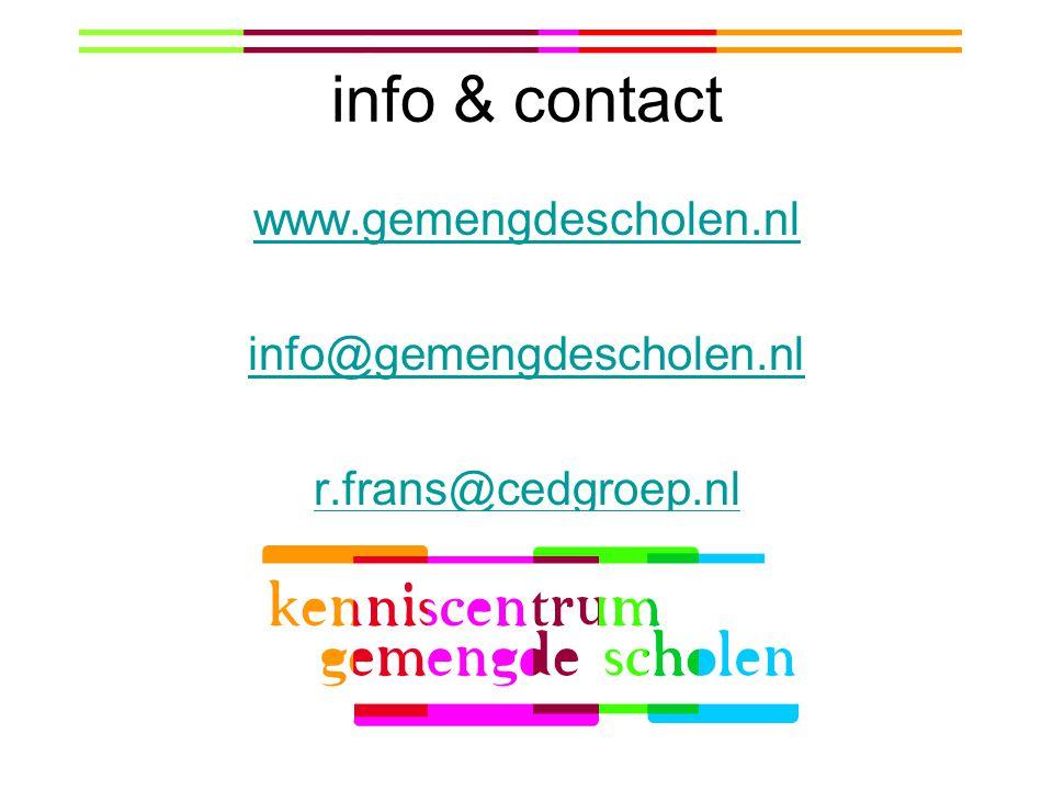 info & contact www.gemengdescholen.nl info@gemengdescholen.nl