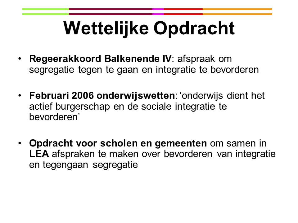 Wettelijke Opdracht Regeerakkoord Balkenende IV: afspraak om segregatie tegen te gaan en integratie te bevorderen.