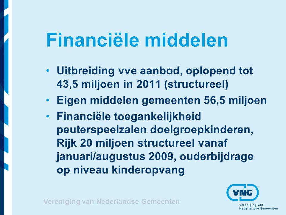 Financiële middelen Uitbreiding vve aanbod, oplopend tot 43,5 miljoen in 2011 (structureel) Eigen middelen gemeenten 56,5 miljoen.