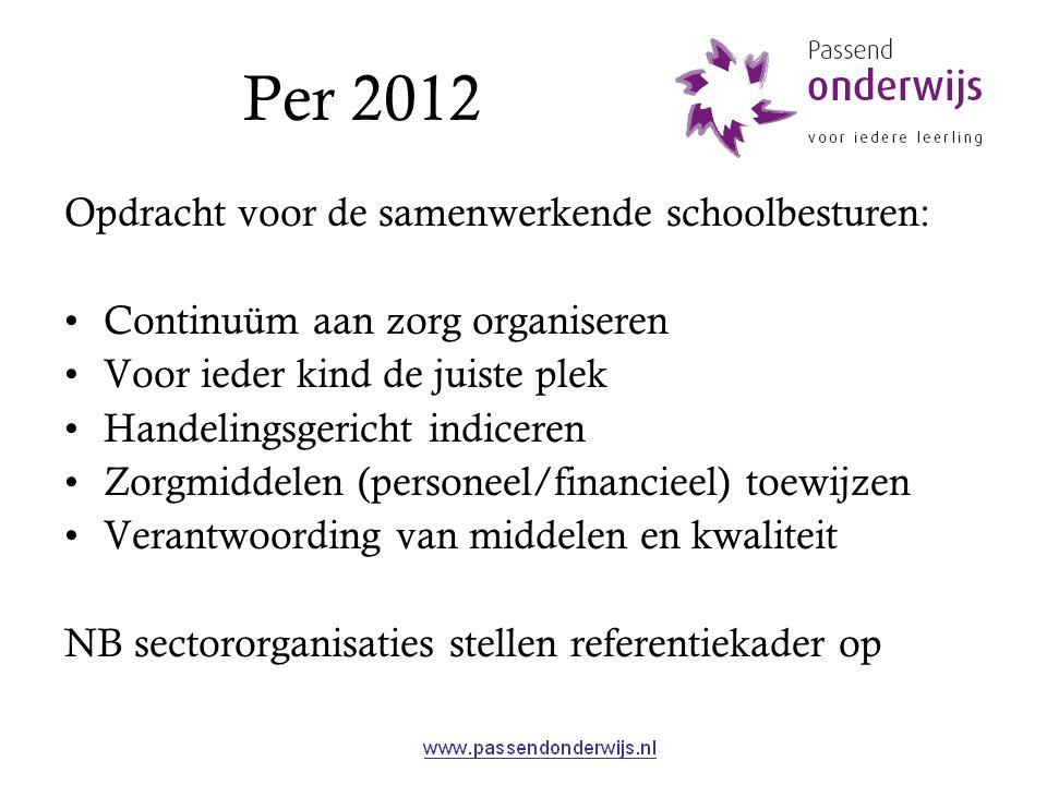 Per 2012 Opdracht voor de samenwerkende schoolbesturen: