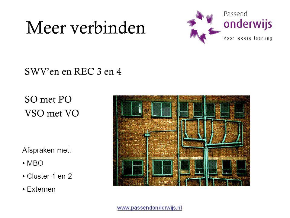 Meer verbinden SWV'en en REC 3 en 4 SO met PO VSO met VO