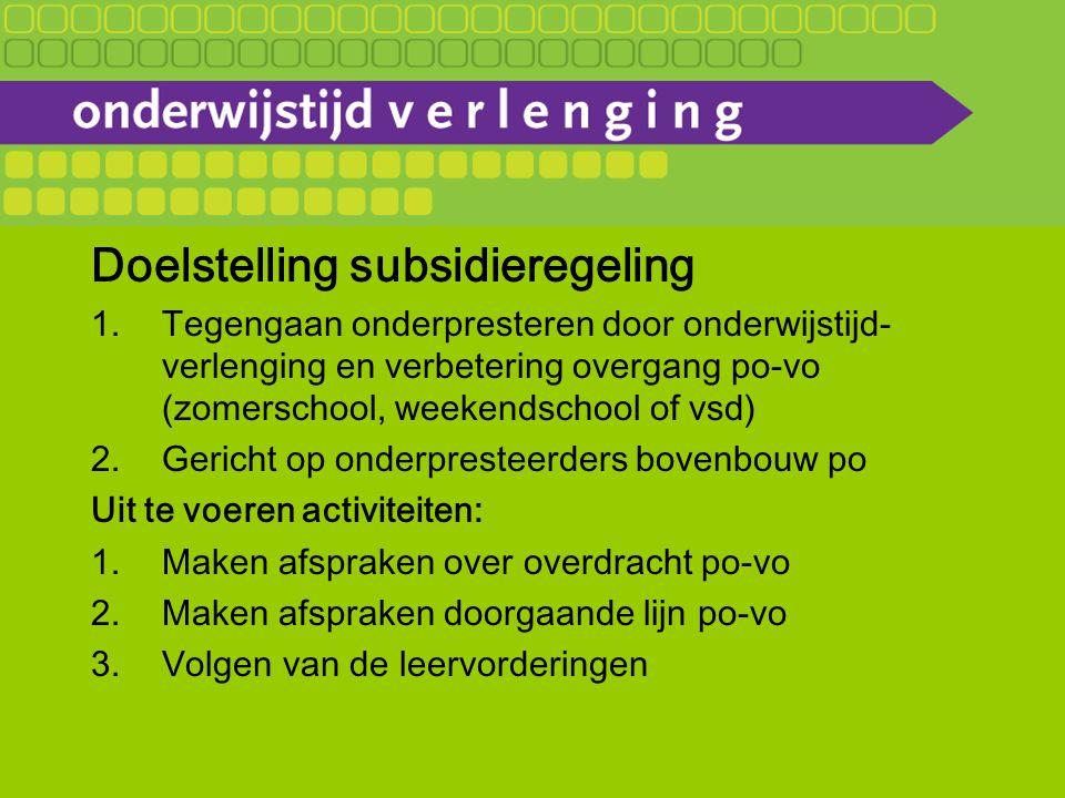 Doelstelling subsidieregeling