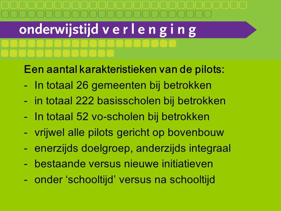 Een aantal karakteristieken van de pilots: