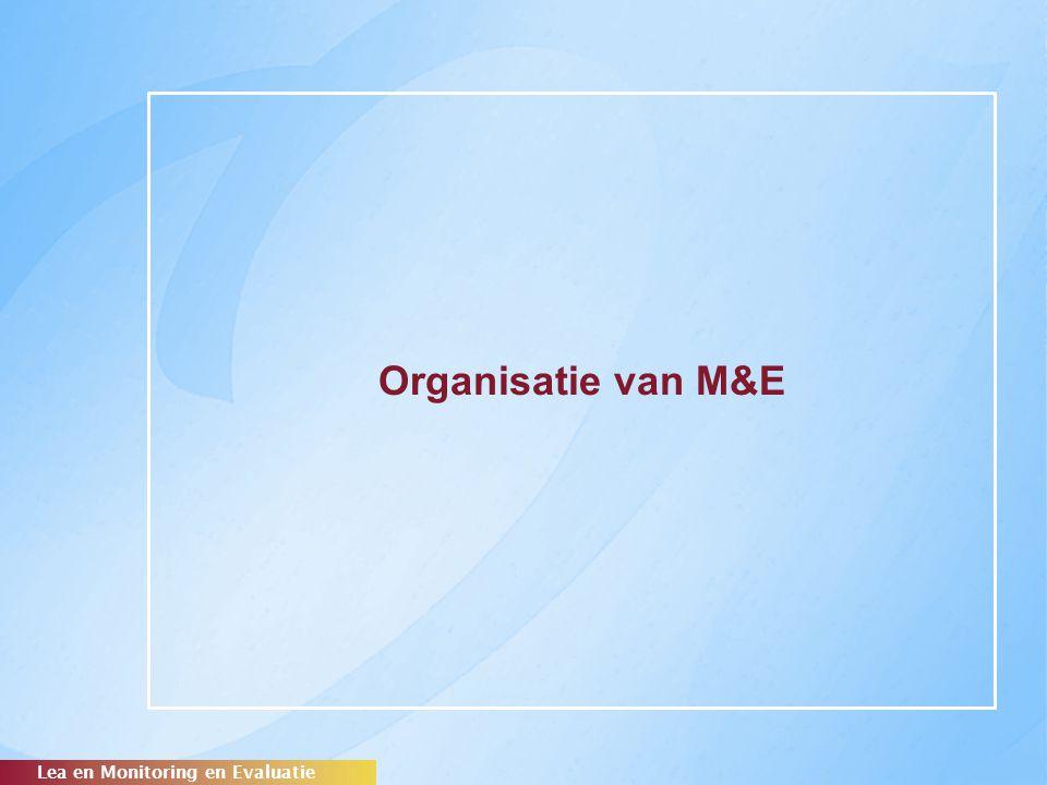 Organisatie van M&E Op alle pagina's een balkje onder met de titel van de presentatie. Figuurachtergrond 'Oberon'-geel (RGB: 249,200,41)