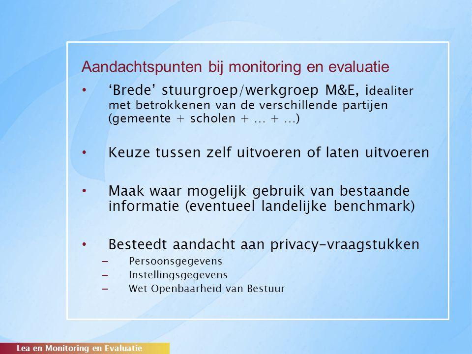 Aandachtspunten bij monitoring en evaluatie