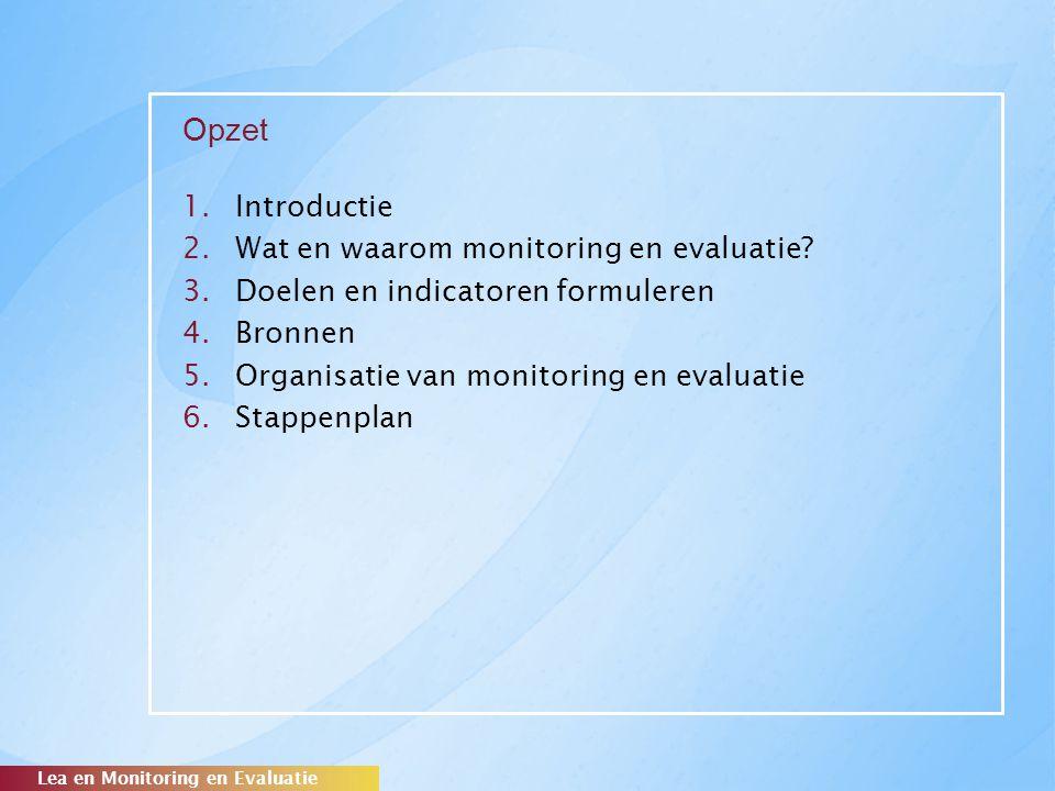Opzet Introductie Wat en waarom monitoring en evaluatie