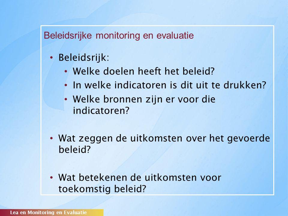 Beleidsrijke monitoring en evaluatie