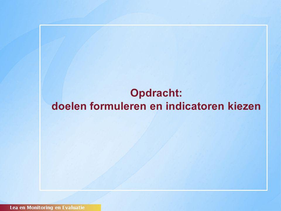 Opdracht: doelen formuleren en indicatoren kiezen