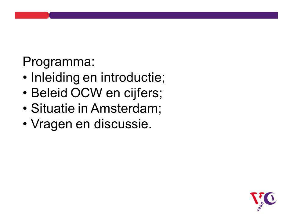 Programma: Inleiding en introductie; Beleid OCW en cijfers; Situatie in Amsterdam; Vragen en discussie.