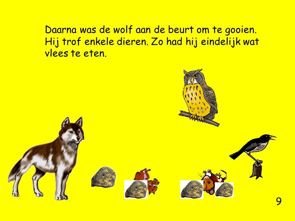 Daarna was de wolf aan de beurt om te gooien. Hij trof enkele dieren