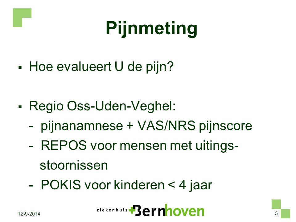 Pijnmeting Hoe evalueert U de pijn Regio Oss-Uden-Veghel: