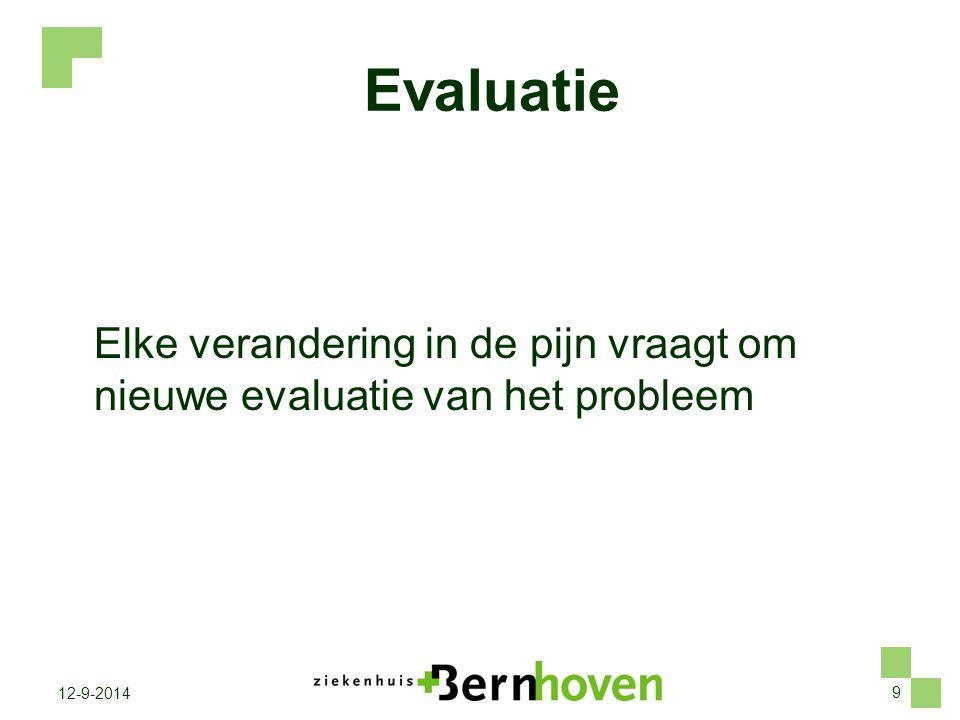 Evaluatie Elke verandering in de pijn vraagt om nieuwe evaluatie van het probleem. Problemen bij pijn-evaluatie/pijnbestrijding.