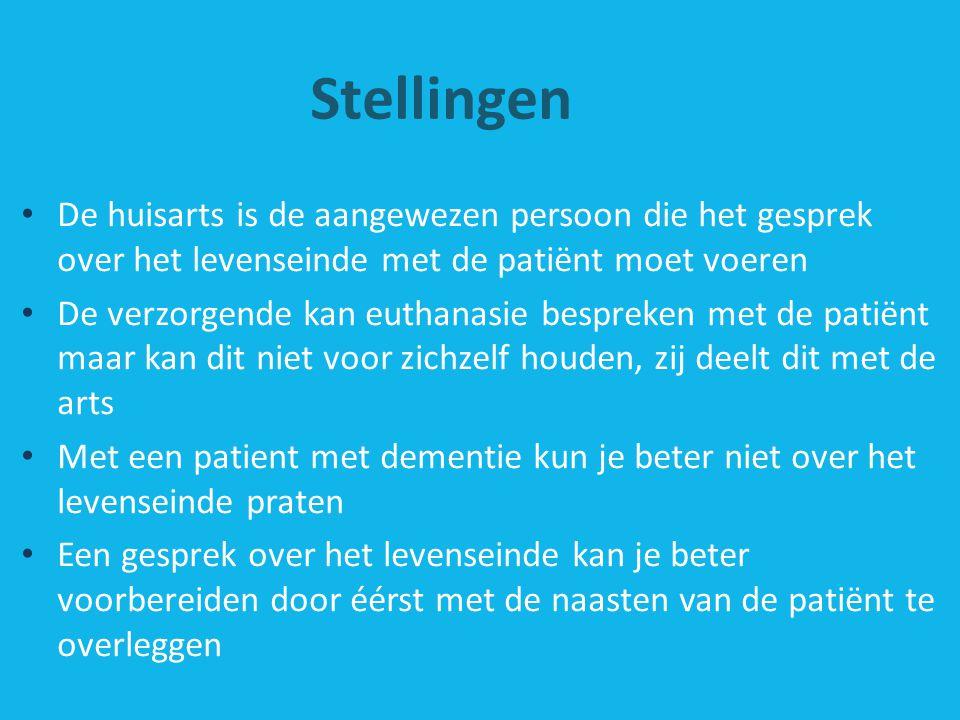Stellingen De huisarts is de aangewezen persoon die het gesprek over het levenseinde met de patiënt moet voeren.