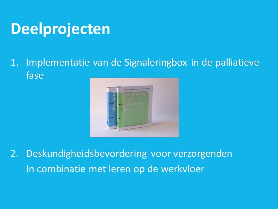 Deelprojecten Implementatie van de Signaleringbox in de palliatieve fase. Deskundigheidsbevordering voor verzorgenden.