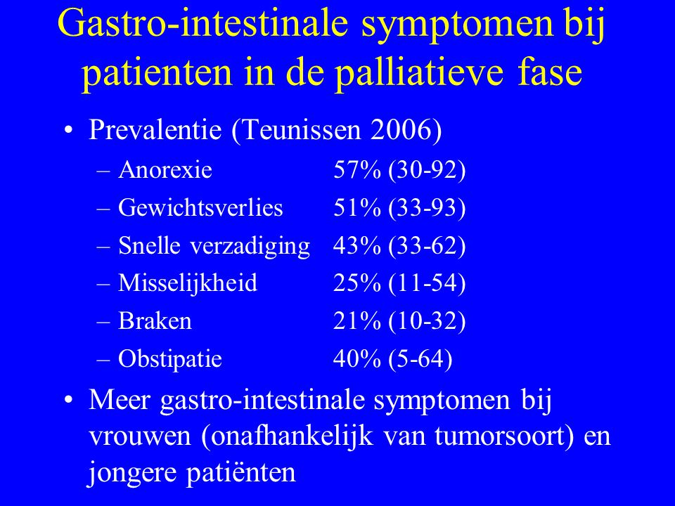 Gastro-intestinale symptomen bij patienten in de palliatieve fase