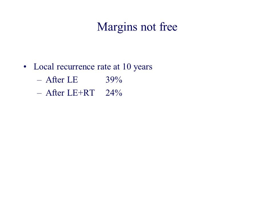 Margins not free Local recurrence rate at 10 years After LE 39%