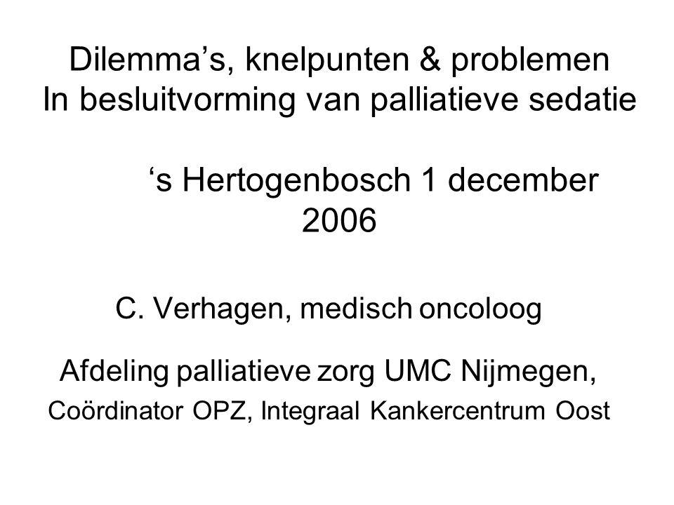 Dilemma's, knelpunten & problemen In besluitvorming van palliatieve sedatie 's Hertogenbosch 1 december 2006