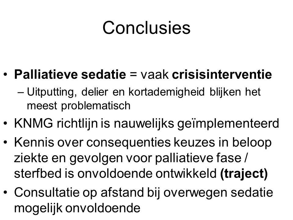Conclusies Palliatieve sedatie = vaak crisisinterventie