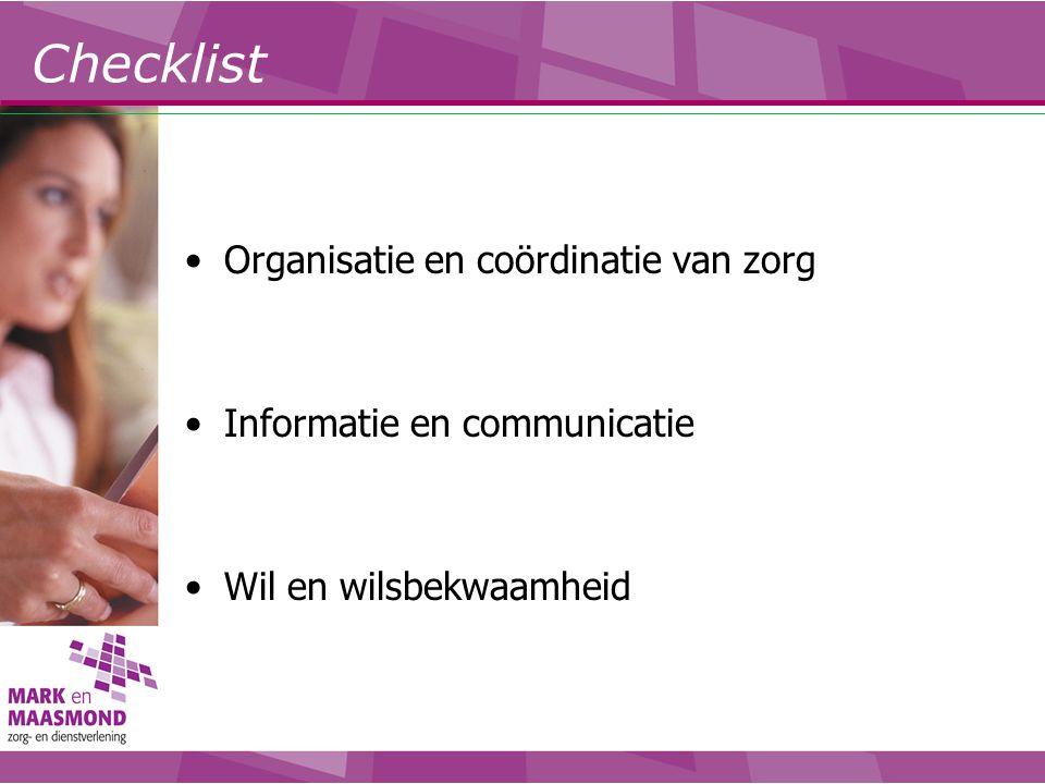 Checklist Organisatie en coördinatie van zorg