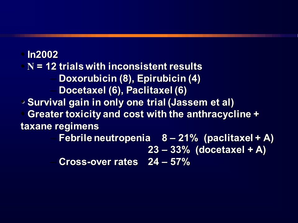 In2002 N = 12 trials with inconsistent results. Doxorubicin (8), Epirubicin (4) Docetaxel (6), Paclitaxel (6)