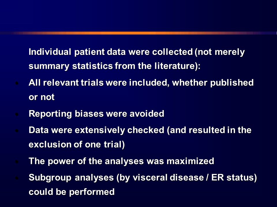 Individual patient data were collected (not merely summary statistics from the literature):