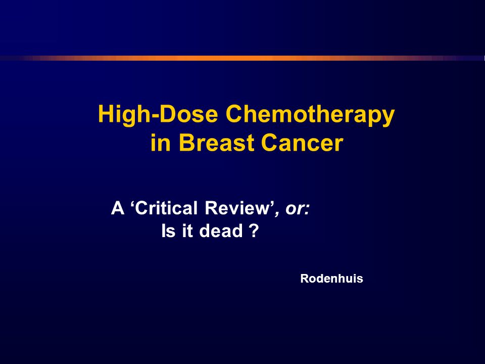 High-Dose Chemotherapy in Breast Cancer