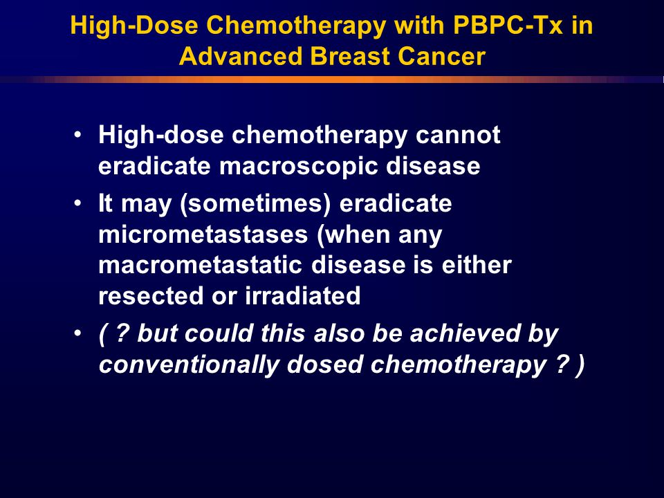 High-Dose Chemotherapy with PBPC-Tx in Advanced Breast Cancer
