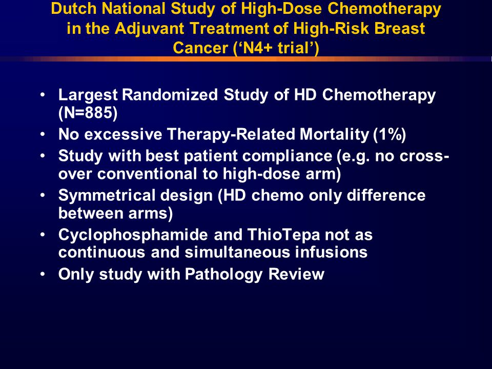 Dutch National Study of High-Dose Chemotherapy in the Adjuvant Treatment of High-Risk Breast Cancer ('N4+ trial')