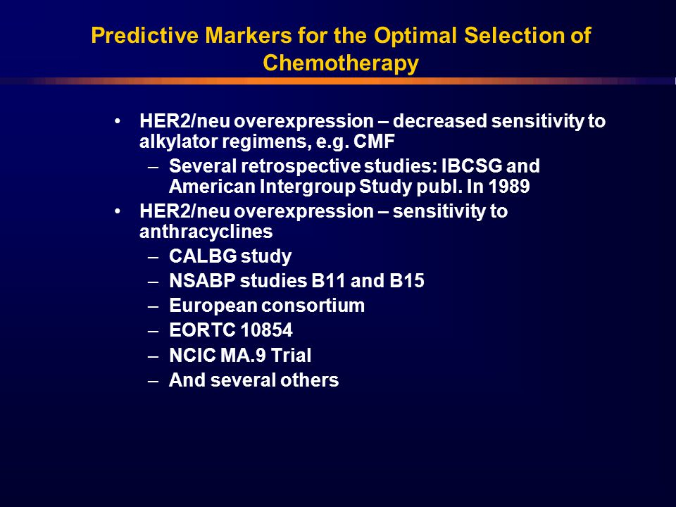 Predictive Markers for the Optimal Selection of Chemotherapy