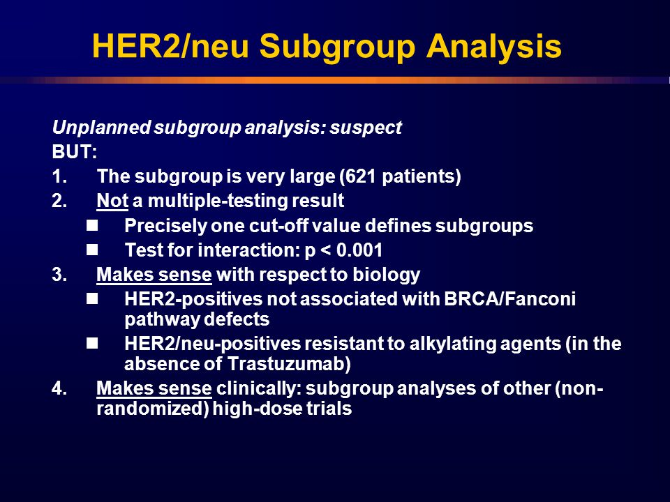 HER2/neu Subgroup Analysis