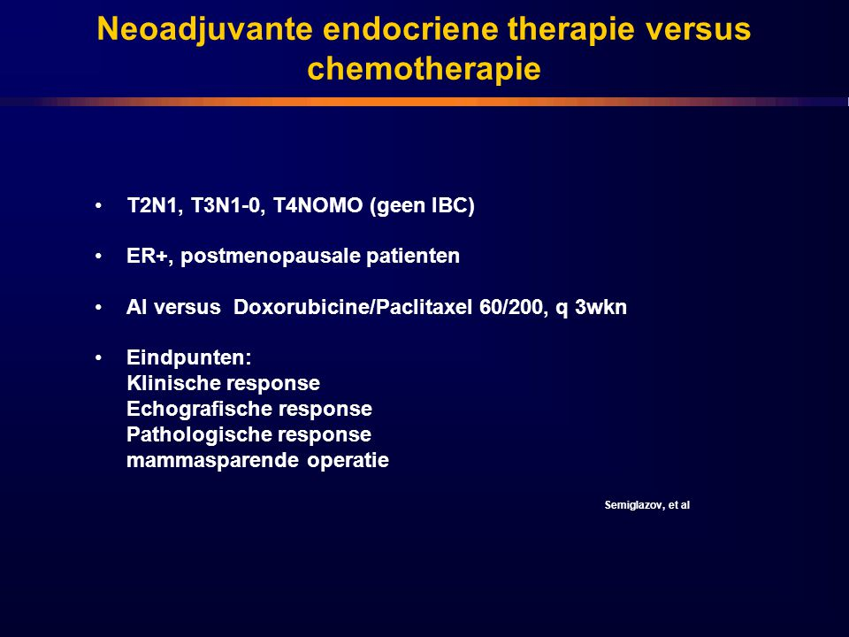 Neoadjuvante endocriene therapie versus chemotherapie